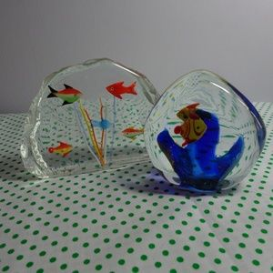 2 beautiful fish themed glass paperweights